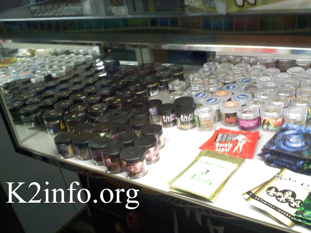 Jars of K2 Incense subsitutes and packets of synthetic marijuana on display